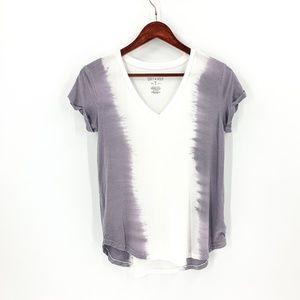 American Eagle White & Purple Tie Dye Tee